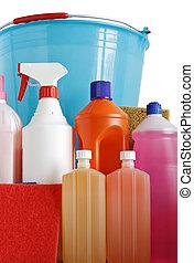 detergents sponges and bucket
