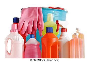 bucket and detergents