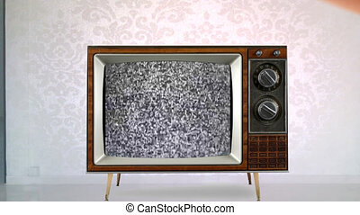 old retro tv - retro tv in a room with bad reception