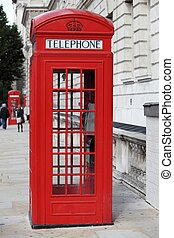 Telephone booth in the city of Westminster in London