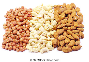 various nuts on a white background