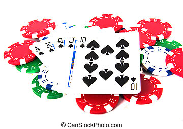 Royal Straight Flush With Poker Chips