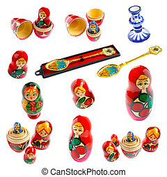 Collection of traditional Russian national souvenir