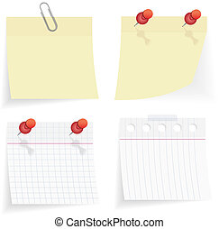 vector sticky paper set on white background
