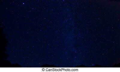 Milky Way - Time lapse of stars moving across sky,...