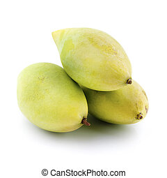 Mangoes - Three mangoes on white background