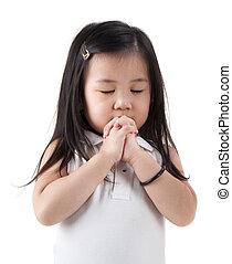 Praying girl - Little girl praying on white background