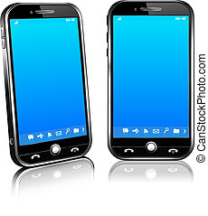 Cell Smart Mobile Phone 3D and 2D - Stylish modern cell...