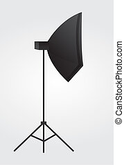 strobe light - black lighting equipment over gray and white...