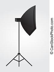 strobe light - black lighting equipment over gray and white...