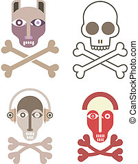 Skull and crossbones - set of vector icons. Abstract color...