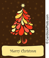 Abstract christmas tree. Vector art illustration background