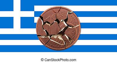 Greece - A Greek flag with a broken coin