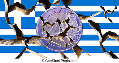 Greece - A broken Greek flag with a broken coin