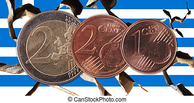 Greece - A broken Greek flag with three coins