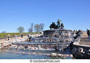 Copenhagen, Denmark - Gefion fountain in Copenhagen Taken in...