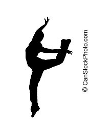 black silhouette of a dancer on a white background