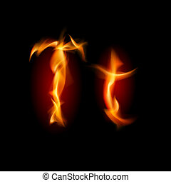 Fiery font. Letter T. Illustration on black background