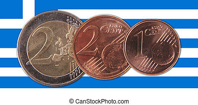 Greece - A Greek flag with three coins
