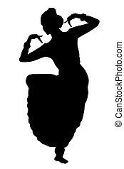 Indian dancing isolate - Black silhouette of dancer from...