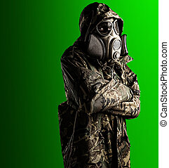 soldier with mask - portrait of young soldier with mask...