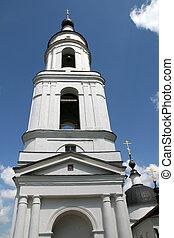 Bell tower in women monastery in Maloyaroslavets Russia
