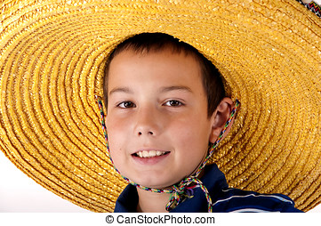 Portrait of the boy in a sombrero - The young eleven-year...
