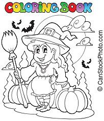 Coloring book Halloween character 4 - vector illustration.