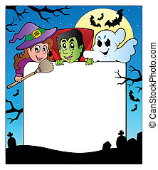 Frame with Halloween characters 2 - vector illustration