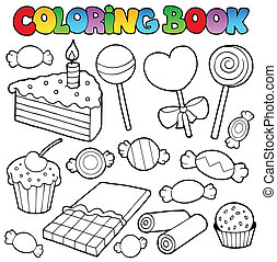 Coloring book candy and cakes - vector illustration