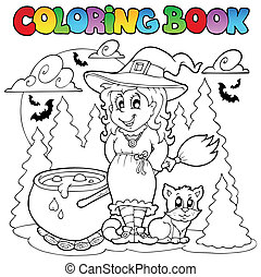 Coloring book Halloween character 1 - vector illustration.