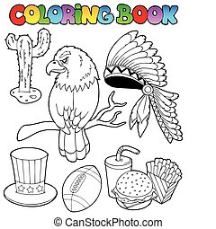 Coloring book American theme images - vector illustration