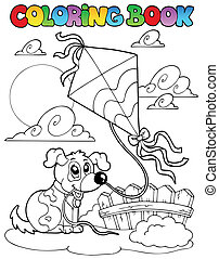 Coloring book with dog and kite - vector illustration