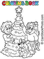 Coloring book Christmas topic 3 - vector illustration