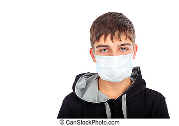 teenager in mask - teenager in the mask isolated on white