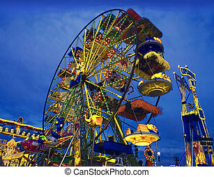 colorful Wheel at Luna Park - big wheel in a amusement park...