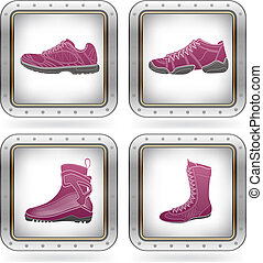 Sport Shoes - Sports footwear theme icons set part of the 2...