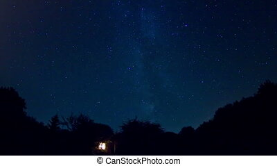 Milky Way - Time lapse of stars moving across sky with view...