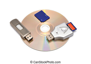 card reader, USB flash drive and memory card on a white...