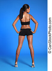 Rear view fit african american sports womans body - Rear...