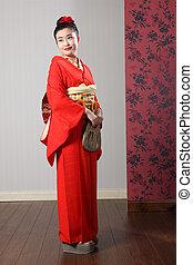 oriental, kimono, modelo, tradicional, japón, Vestido