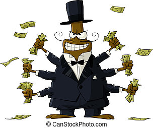 Rich beetle - Beetle with money in hand, vector illustration