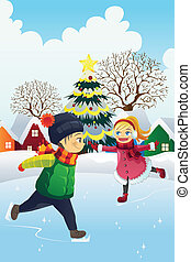 Kids playing ice skating - A vector illustration of kids...