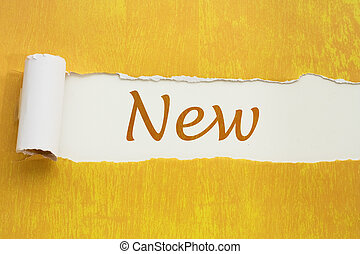 Announcing something new - Torn gold paper background with...