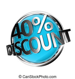 discount button - 40% - 3d rendered blue discount button -...