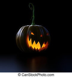 glowing halloween pumkin - 3d rendered halloween scene with...