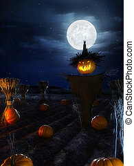 halloween poster - 3d rendered halloween scene with a scary...