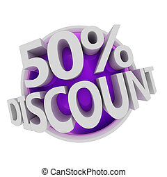 discount button - 50% - 3d rendered purple discount button -...