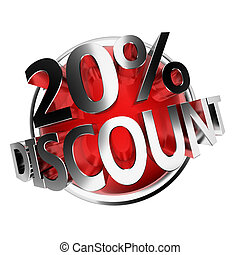 discount button - 20% - 3d rendered red discount button -...