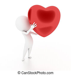 guy with a heart - 3d rendered illustration of a little...